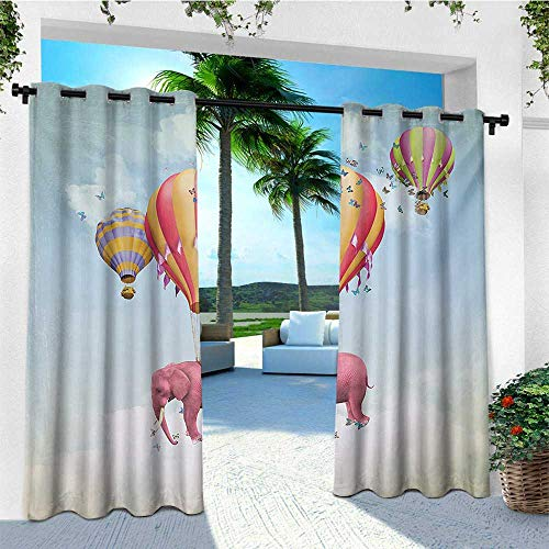 leinuoyi Elephant, Outdoor Curtain Extra Wide, Pink Elephant in The Sky with Balloons Illustration Daydream Fairytale Travel, Set for Patio Waterproof W120 x L96 Inch Multicolor ()