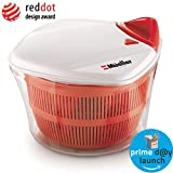 Mueller Large 5L Salad Spinner Vegetable Washer with Bowl, Anti-Wobble Tech, Lockable Colander Basket and Smart Lock Lid - Lettuce Washer and Dryer - Easy Water Drain System and Compact Storage