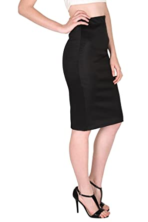 7bcb9e766 SASSAFRAS Women's Scuba Pencil Black Skirt: Amazon.in: Clothing &  Accessories