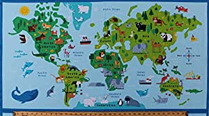 Amazon 235 x 44 panel animals world map continents countries 235quot x 44quot panel animals world map continents countries oceans wildlife kids childrens geography gumiabroncs Gallery