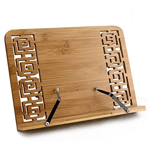 Do4U Bamboo Reading Rest Cookbook Stand Holder, Foldable Tablet Cook Book Stand Bookrest with Adjustable Backing & Elegant Pattern (Medium, Hollowed Design)