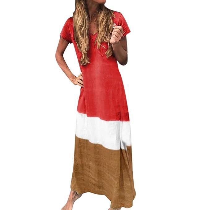 Vestito Donna Estivo senza Maniche Casual Profondo Scollo a V Prendisole lungo