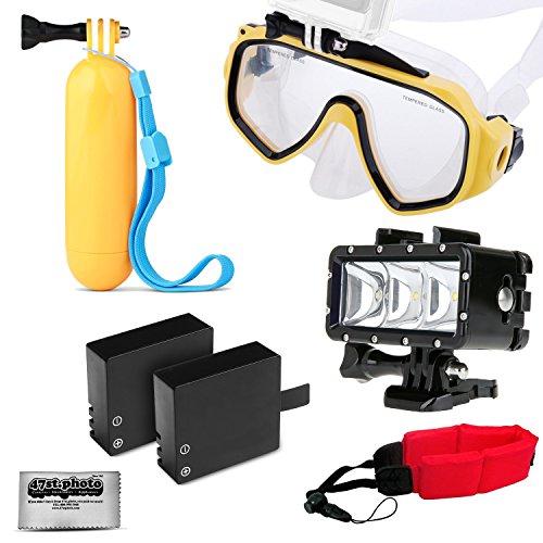 Opteka Snorkeling Google + Floating Hand Grip + LED Light + 2 Batteries + Wrist Strap for GoPro HERO4, HERO3, HERO2 Black, Silver, Session, SJ6000, SJ4000 and Similar Action Cameras