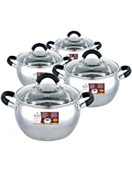 4 Piece Stainless steel and black Sauce Pot Set with Lid