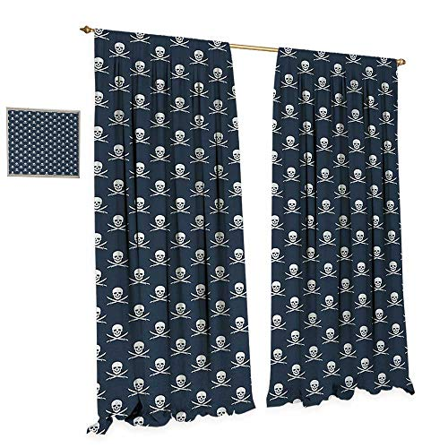 (Anniutwo Pirates Patterned Drape for Glass Door Jolly Roger Pattern in Classic Nautical Colors Dangerous Halloween Character Waterproof Window Curtain W72 x L84 Dark Blue)