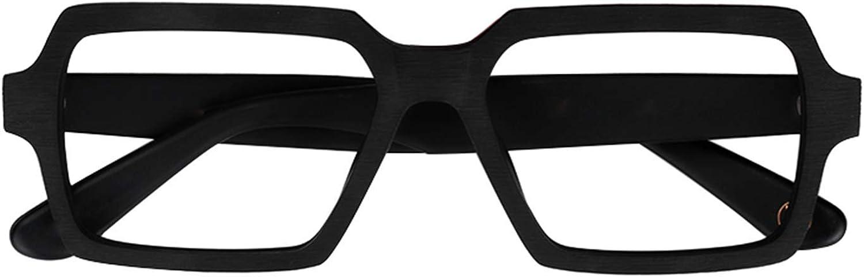 Zeelool Vintage Wood Grain Acetate Rectangular Eyeglasses for Men with Non-Prescription Clear Lens Arthur FA0178