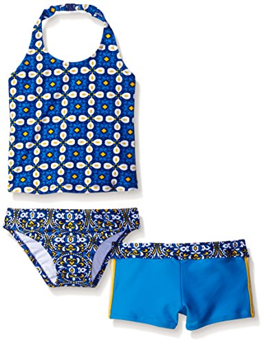 Tommy Bahama Little Girls' Three Piece Tankini Set, Blue, 5