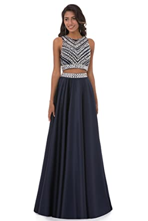 HONGFUYU Prom Dresses Two Pieces 2 High Neck Sleeveless A Line Evening Gowns 2018 Black-