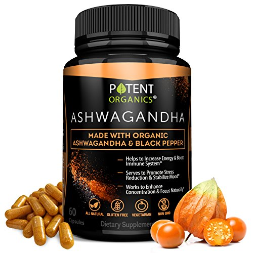 100% Organic Ashwagandha 1300 mg – Natural Energy & Immune System Booster – Stress & Anxiety Relief – Organic, Vegetarian & GMO-Free – 60 Capsules with Black Pepper for Absorption
