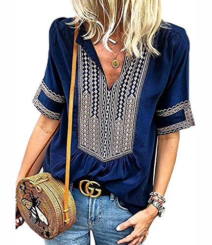 (Mansy Women's Summer V Neck Boho Print Embroidered Shirts Short Sleeve Casual Tops Blouse )