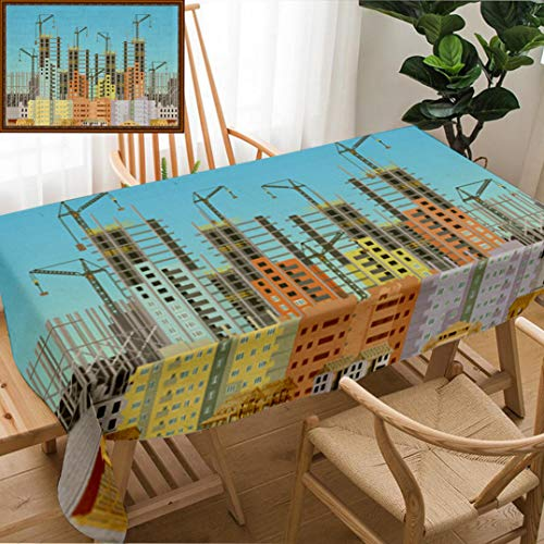 Unique Custom Design Cotton And Linen Blend Tablecloth Building City Under Construction Website With Tower Cranes Constructions Infographics TemplateTablecovers For Rectangle Tables, 78