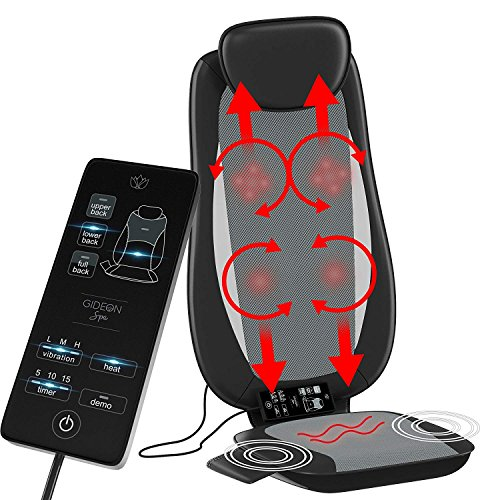 Gideon Shiatsu Back Massager Deep Kneading Massage Seat Cushion with Percussion and Vibration Motors with Heat and Precise Pinpoint Customization Control for Full, Mid and Lower Back and you're Bottom ()