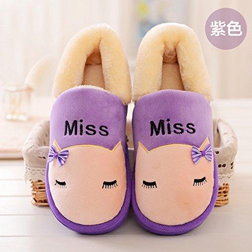 Y-Hui l'inverno il cotone imbottito femmina scarpe addensata con suole spesse gli amanti della calzatura Home un caldo scarpe,Thirty-Seven,viola