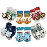 Bowbear Adorable Newborn 6 Pair Non-Skid Puffy Animal Face Bootie Socks