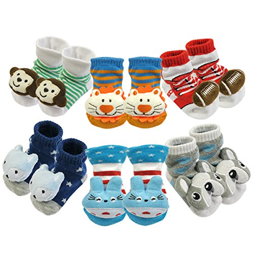 Bowbear Adorable Newborn 6 Pair Non-Skid Puffy Animal Face Bootie Socks