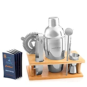 Cocktail Shaker Martini Shaker Set – Bartender Kit : Drink Shaker, Jigger, Drink Mixing Spoon, Strainer, Ice thong, Bottle Opener, Stylish Wooden Stand, Gift Box and Bounce Cocktail Recipes Book