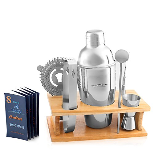 Cocktail Shaker Martini Shaker Set - Bar Accessories : Drink Shaker, Jigger, Drink Mixer Spoon, Strainer, Ice thong, Bottle Opener,Wooden Stand-In Gift Box & Cocktail Recipes by ()