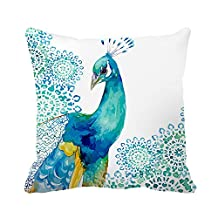 "Poppylife Beautiful Watercolor Peacock Home Decro Throw Pillow Covers Case 26""x 26"""