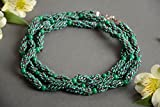 Stylish handmade necklace crocheted of Czech beads in green color palette
