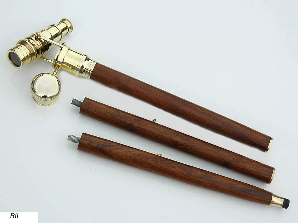 Only wooden shaft 3 Fold Vintage brass Wood Walking Stick Only For Cane Handle