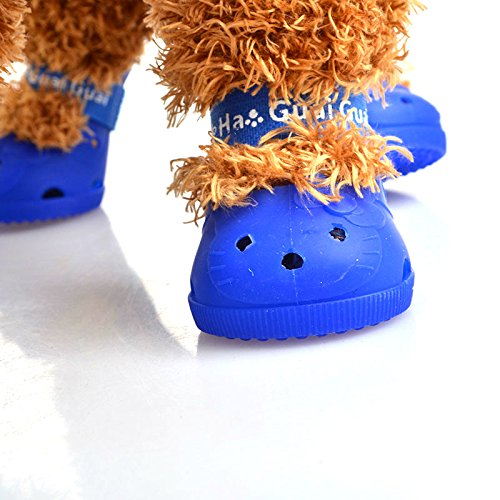 luckyBEAR 4Pcs Cute Paw Boots Shoes Ventilate and Anti-Slip Shoes For Small/ Big Dog Pet Cat Shoes Protective Boots Summer Waterproof (XL,