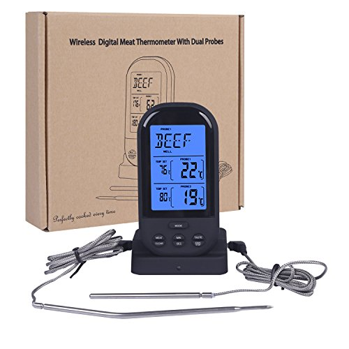Super PDR Wireless Remote Digital Dual Probe Thermometer for Kitchen Cooking Meat BBQ Oven Grill by Super PDR
