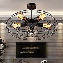 JinYuZe Industrial 5-Light Wrought Iron Black Fan Semi Flush Mount Ceiling Light, Round Cage Indoor Lighting Fixture