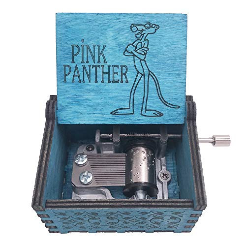 Pink Panther Music Box Hand Crank Musical Box Carved Wood Musical Gifts,Play Pink Panther Theme,Blue (Pink Panther Merchandise)