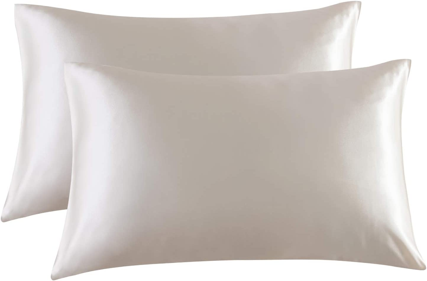 Bedsure Satin Pillowcase for Hair and Skin, 2-Pack - Standard Size (20x26 inches) Pillow Cases - Satin Pillow Covers with Envelope Closure, Beige