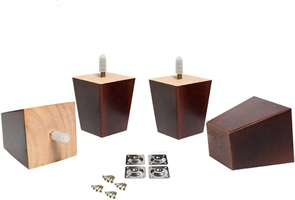 "Maricome 3 Inch Wood Furniture Legs Replacement Raiser Feet Square Tapered Sofa/Couch/Chair/Ottoman Walnut Finish 5/16"" Bolt - Set of 4"