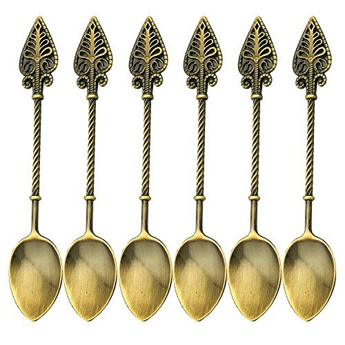 Retro Creative 6-pieces Tablespoon Coffee Scoops Stirring Spoon Sugar Spoon Tea Spoon Ice Cream Scoops Seasoning Spoon (Antique Brass)