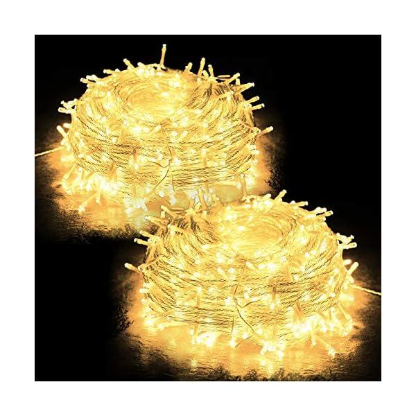 JUMKEET Catena Luminosa, 10m 100LED Luci Brillanti Filo di Rame - Impermeabile Presa Ideale per Compleanno Decorazioni Natalizie Feste di Natale Ecc Luce Bianca Calda [2 Pacchi] 1 spesavip