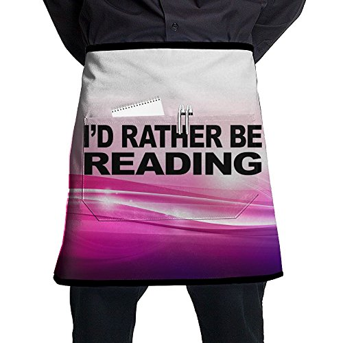 Bralla I'd Rather Be Reading Half Body Waist Apron With Pocket For Bartenders, Cooking