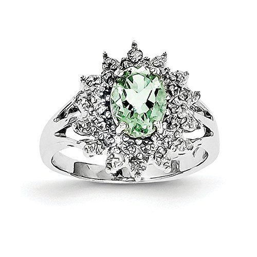 1.06ct Oval Cut Prasiolite and Diamond Accent Cluster Ring, Size 8 -