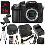 Panasonic Lumix DMC-GH4 Digital Single Lens Mirrorless Camera with 4K Cinematic Video (Body Only) + Two DMW-BLF19 Replacement Lithium Ion Battery + External Rapid Charger + 16GB SDHC Class 10 Memory Card + Carrying Case + Full Size Tripod + SDHC Card US