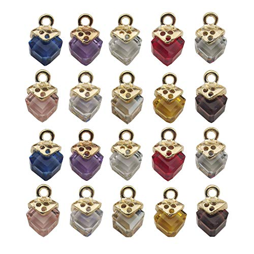 20pcs Craft Supplies Cubic Crystal Pendants Charms for Jewelry Making Crafting Findings Accessory for DIY Necklace Earrings Bracelet M257