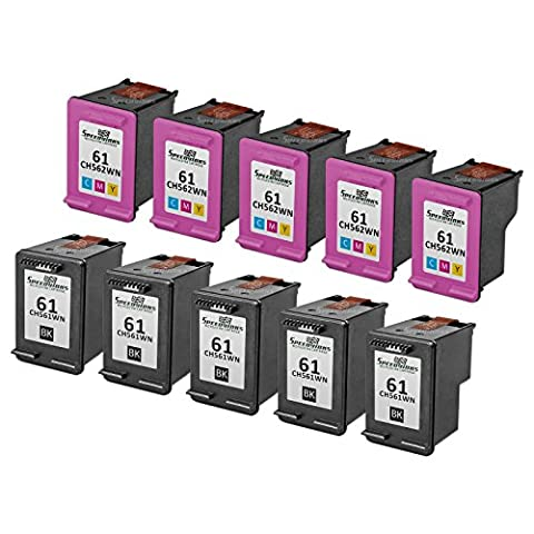 Speedy Inks - 10PK Remanufactured replacement for HP 61 CH561WN CH562WN Ink Cartridge Set: 5 Black & 5 Color for use in HP Deskjet 1000, 1010, 1050, 1051, 1055, 1056, 1512, 2050, 2510, 2512, 2514 (Hp Ink 61 Color And Black)