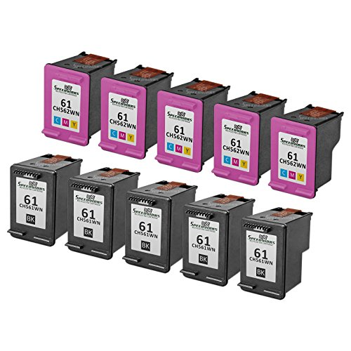 Speedy Inks - 10PK Remanufactured replacement for HP 61 CH561WN CH562WN Ink Cartridge Set: 5 Black & 5 Color for use in HP Deskjet 1000, 1010, 1050, 1051, 1055, 1056, 1512, 2050, 2510, 2512, 2514 2540