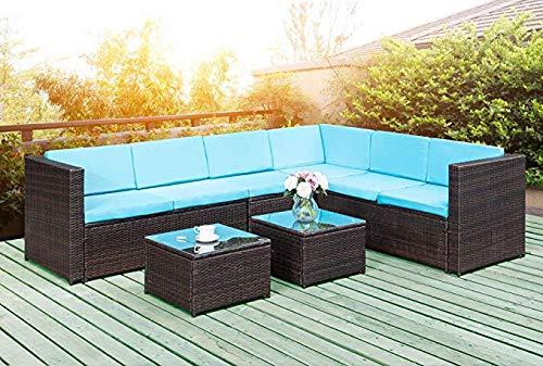 Vineego 5-Piece Outside Patio Furniture Brown Rattan Sofa Wicker Sectional Sofa Set