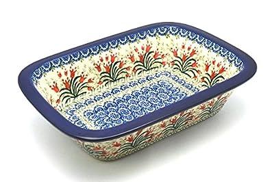 Polish Pottery Baker - Rectangular with Grip Lip - Crimson Bells