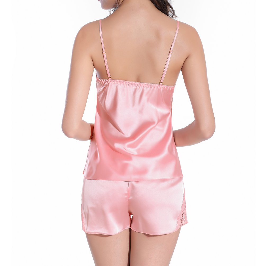 ENJOYNIGHT Women Lingerie Sleepwear Pajamas Short Sets Satin Lace Cami chemises (Medium, Pink)