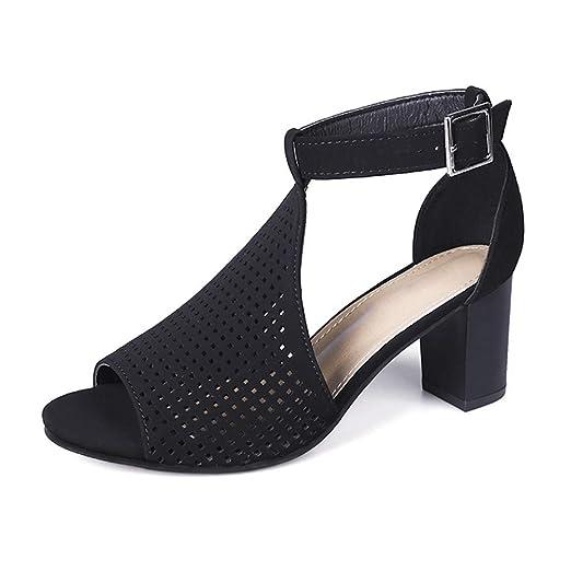 c2aa32a14c992 Amazon.com: Hunzed Women【Hollow Buckle Sandals】 Ladies Square Heel ...