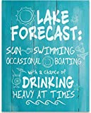 Lake Forecast Sun Swimming Boating Drinking - 11x14 Unframed Typography Art Print - Great Lake House, Resort, Bar Decor Under $15 (Printed on Paper, Not Wood)