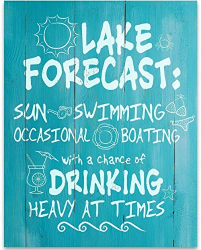 Home Decor Vacation - Lake Forecast Sun Swimming Boating Drinking - 11x14 Unframed Typography Art Print - Great Lake House, Resort, Bar Decor Under $15 (Printed on Paper, Not Wood)