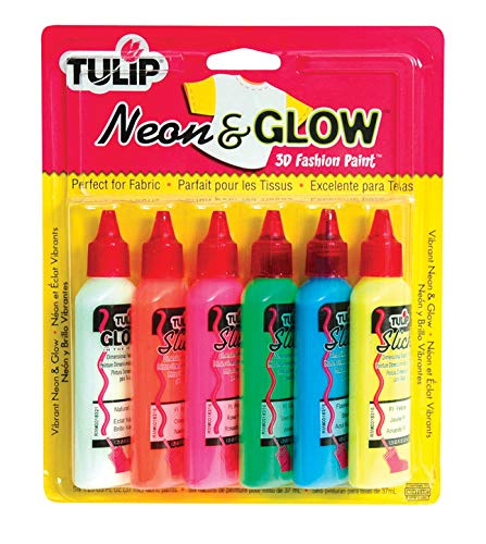 I Love To Create Tulip 3D Fashion Paint, 1.25-Ounce, Neon and Glow, 6 Per Package (Puffy Paint Red)