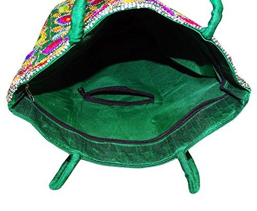De Bolso Bordado Verde Mano Bolso Indio Bolso Suzani De Tradicional Hombro Mujer De PEEGLI XwntqxSwv
