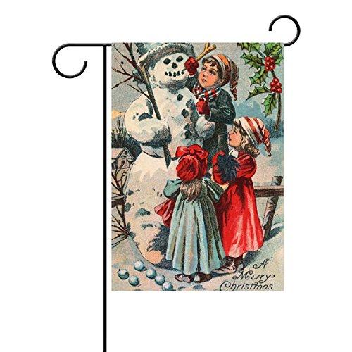 Naanle Vintage Christmas Snowman Polyester Garden Flag 12 X