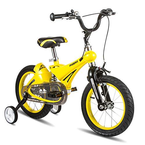 YANGFEI ベビーカー 子供用自転車、自転車用12inch / 14inch / 16inch、トレーニングホイール付き、男の子用、女の子用。ゴールドレッド、イエロー ショックアブソーバタイヤ 16 inch イエロー いえろ゜ B07M8XV4B1
