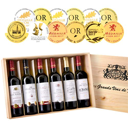◆第9弾 豪華木箱入りボルドー金賞赤ワイン6本セット(750ml×6本)[T]  B07HK63WGW