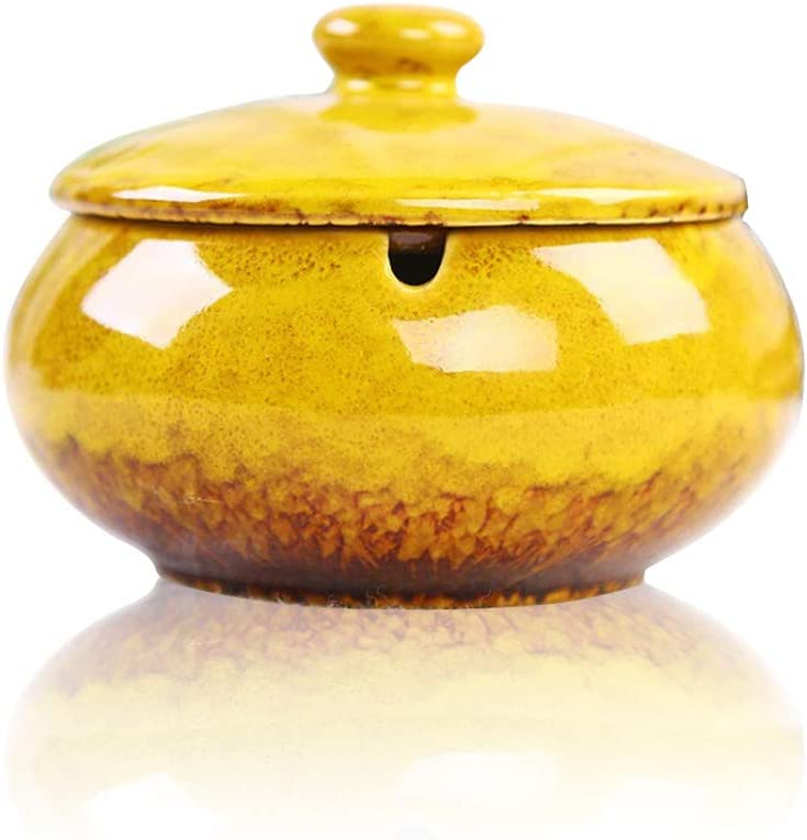 Lependor Ceramic Ashtray with Lids, Windproof, Cigarette Ashtray for Indoor or Outdoor Use,Ash Holder for Smokers,Desktop Smoking Ash Tray for Home Office Decoration - Yellow